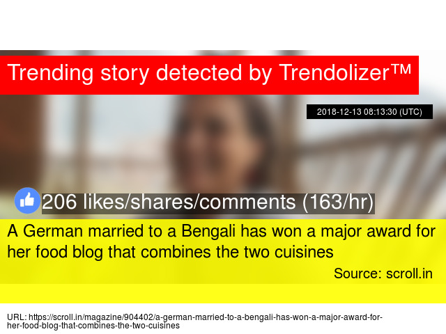 A German married to a Bengali has won a major award for her