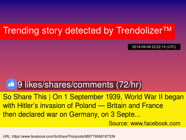 So Share This | On 1 September 1939, World War II began with